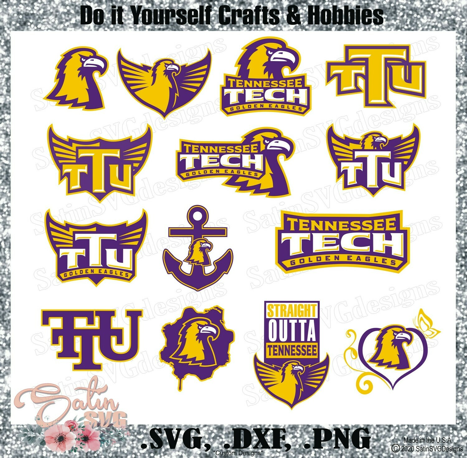 Tennessee Tech Golden Eagles, Tennessee Tech University NEW Custom Designs. SVG Files, Cricut, Silhouette Studio, Digital Cut Files, Infusible Ink
