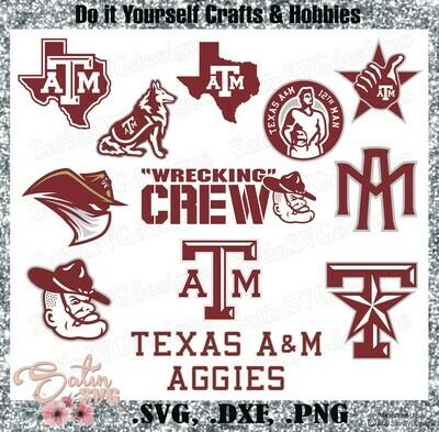 Texas A & M Aggies, NEW Custom Designs. SVG Files, Cricut, Silhouette Studio, Digital Cut Files, Infusible Ink