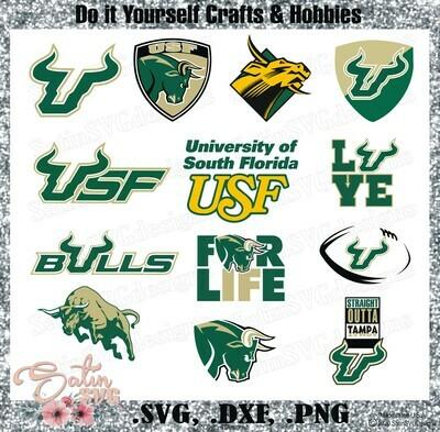 USF Bulls, University of South Florida NEW Custom Designs. SVG Files, Cricut, Silhouette Studio, Digital Cut Files, Infusible Ink