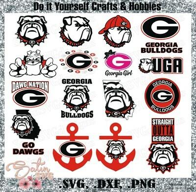 Georgia Bulldogs, University of Georgia NEW Custom Designs. SVG Files, Cricut, Silhouette Studio, Digital Cut Files, Infusible Ink
