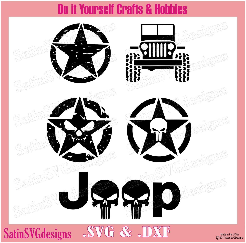 Jeep Stars and Punisher Set Design SVG Files, Cricut, Silhouette Studio, Digital Cut Files