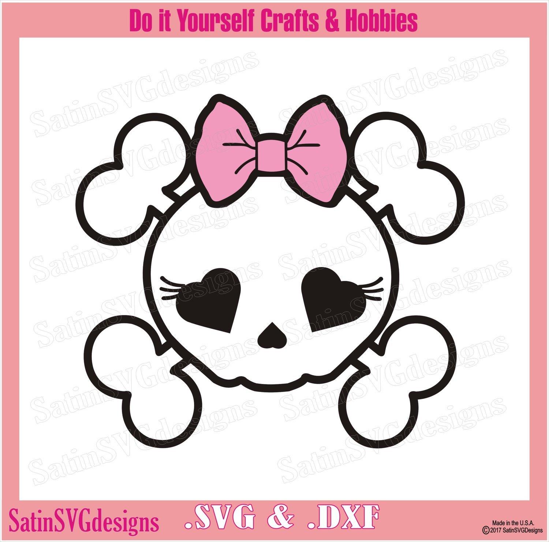 Girly Skull and Bones Design SVG Files, Cricut, Silhouette Studio, Digital Cut Files