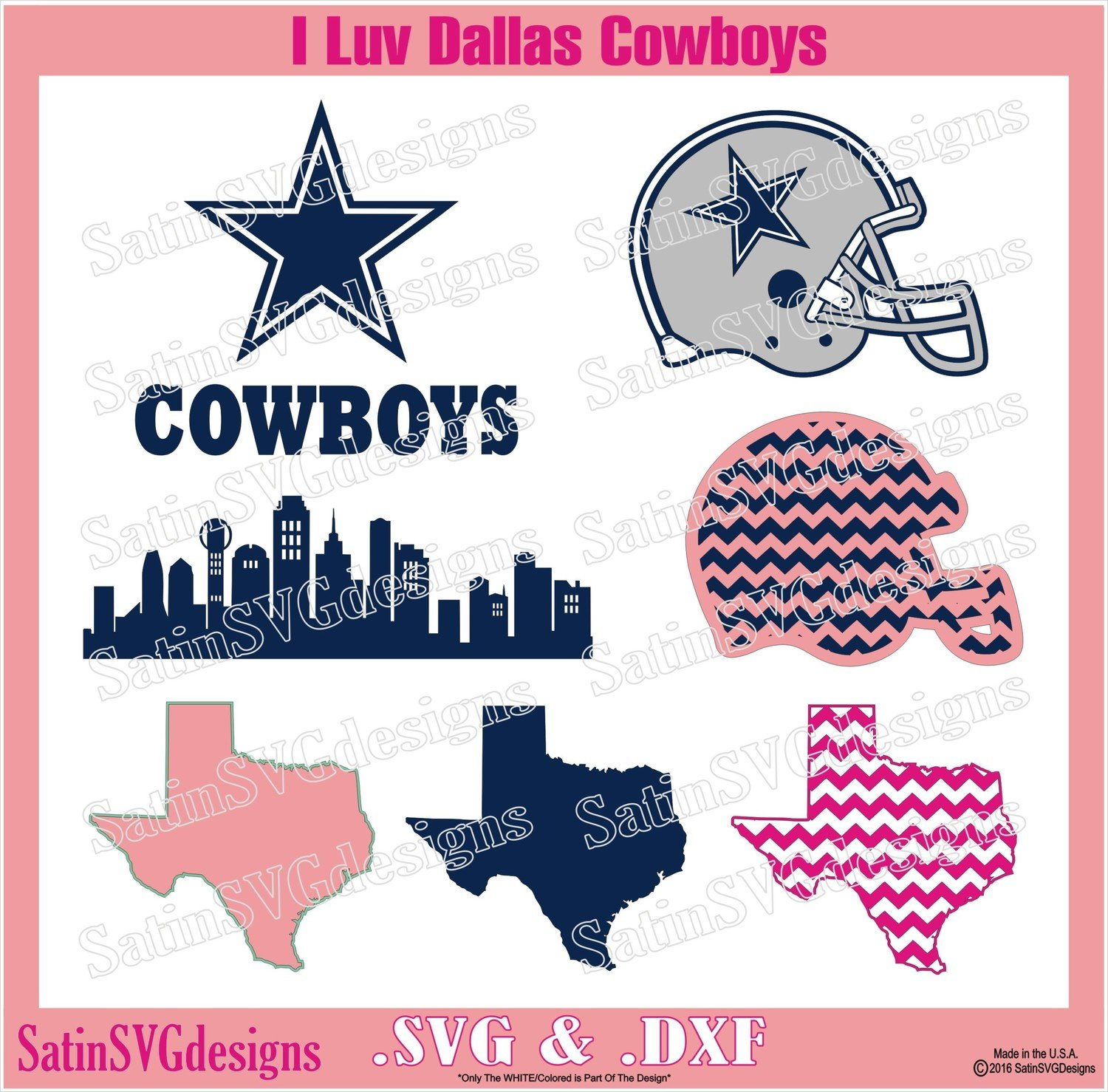 Dallas Cowboys Star City Design SVG Files, Cricut, Silhouette Studio, Digital Cut Files