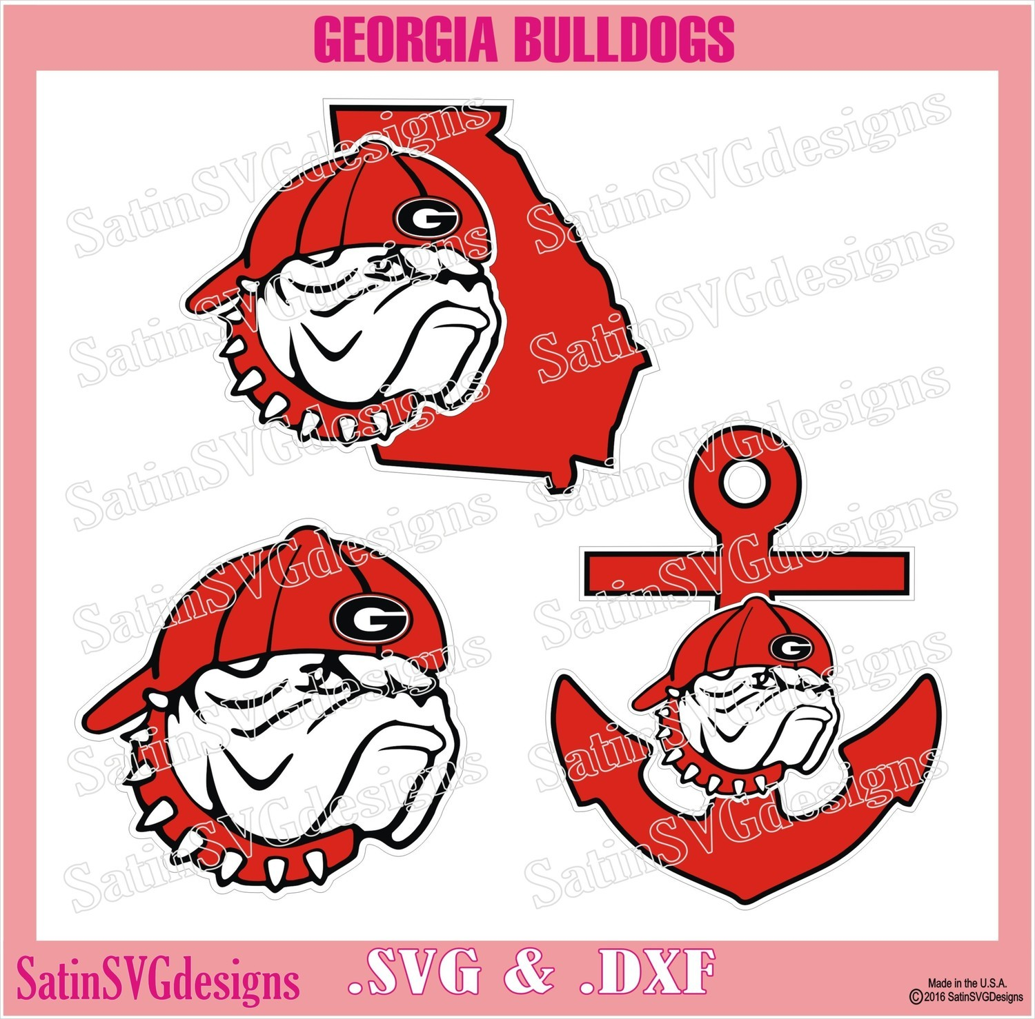 Georgia Bulldogs UGA Hat2Back Set Design SVG Files, Cricut, Silhouette Studio, Digital Cut Files