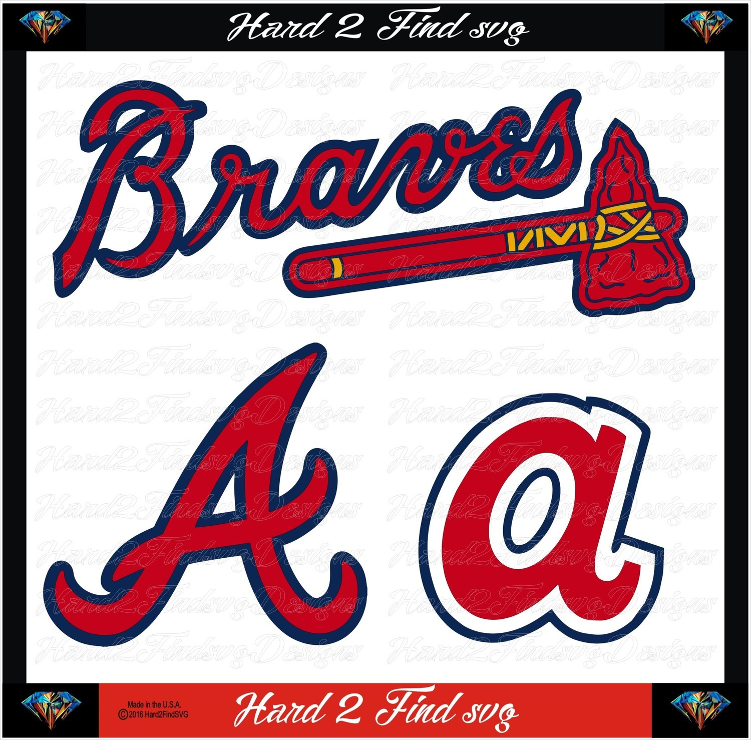 Atlanta Braves Baseball Set Design SVG Files, Cricut, Silhouette Studio, Digital Cut Files