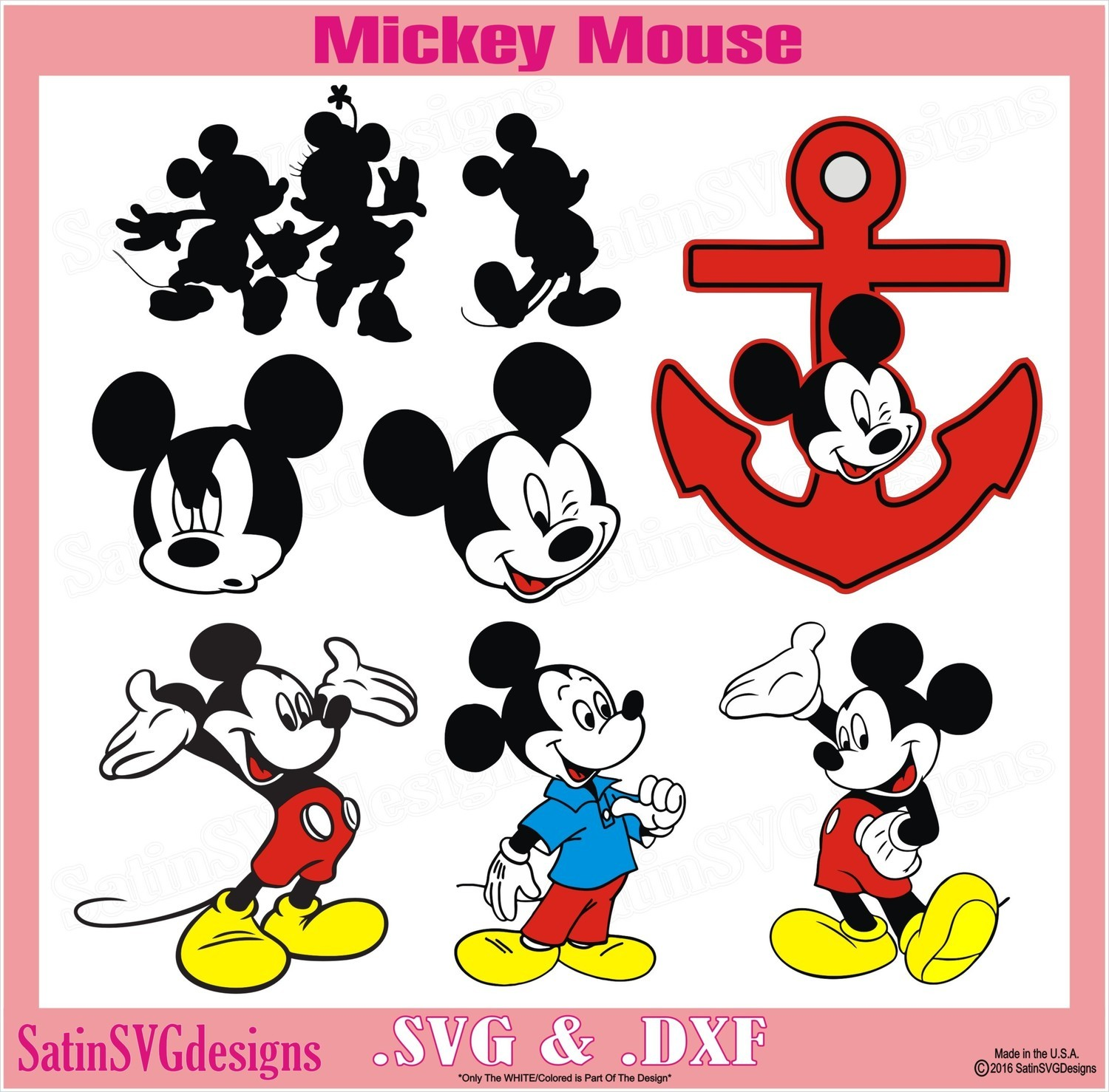 Mickey Mouse Minnie Disney Design SVG Files, Cricut, Silhouette Studio, Digital Cut Files