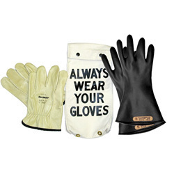 "GK0011B Glove Kit, Class 00 Includes Black  11"" Gloves, Leather Protectors and Glove Bag"
