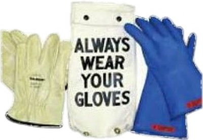 "GK0011BL Glove Kit, Class 00 Includes Blue  11"" Gloves, Leather Protectors and Glove Bag"