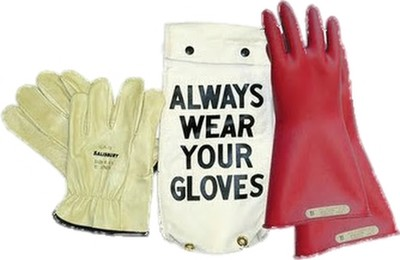 "GK0011R Glove Kit, Class 00 Includes Red  11"" Gloves, Leather Protectors and Glove Bag"