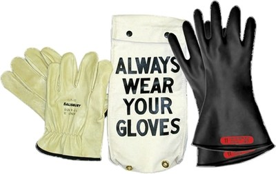 "GK011B Glove Kit, Class 0 Includes Black  11"" Gloves, Leather Protectors and Glove Bag"