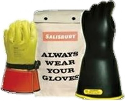 "GK214YB Glove Kit, Class 2 Includes 14"" Yel/ Blk Gloves, Leather Protectors and Glove Bag"