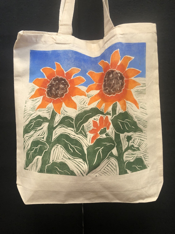 Sunflowers Original Handprinted Woodblock Print