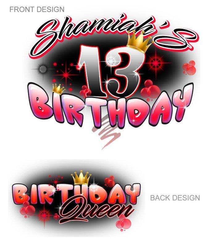 Airbrush Birthday  Red design