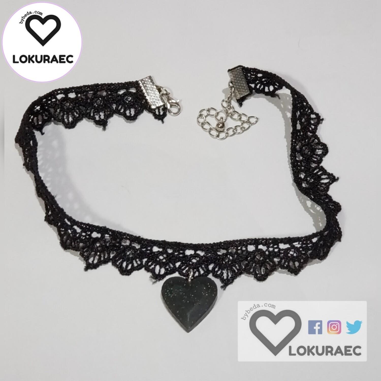 Collar Gargantilla Heart  Negro Escarchado