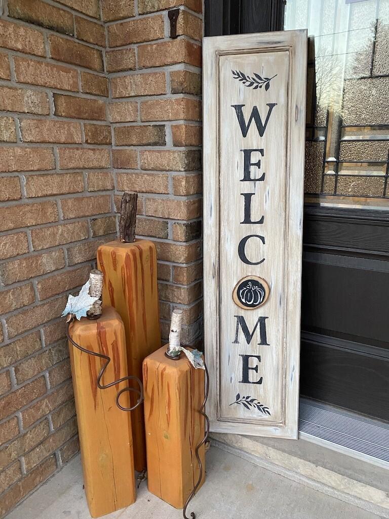 Welcome Porch Sign, Old Door