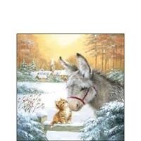"Ambiente servetten ""Donkey and kitten"" 25x25cm"
