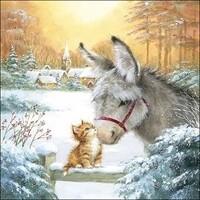 "Ambiente servetten ""Donkey And Kitten"" 33x33cm"