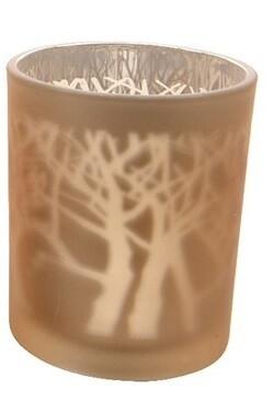 Theelicht glas boom licht bruin