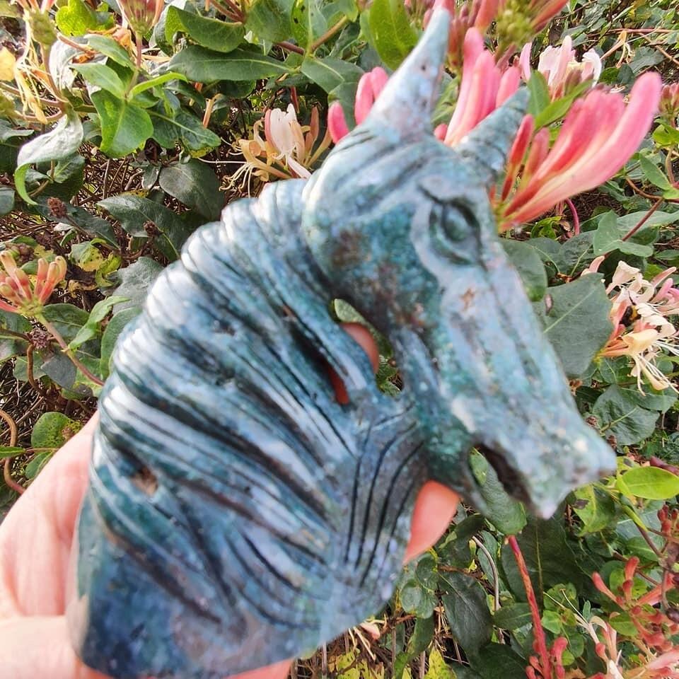 Green Moss Agate Unicorn Skull 4