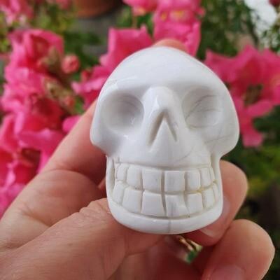 White Howlite Crystal Skull