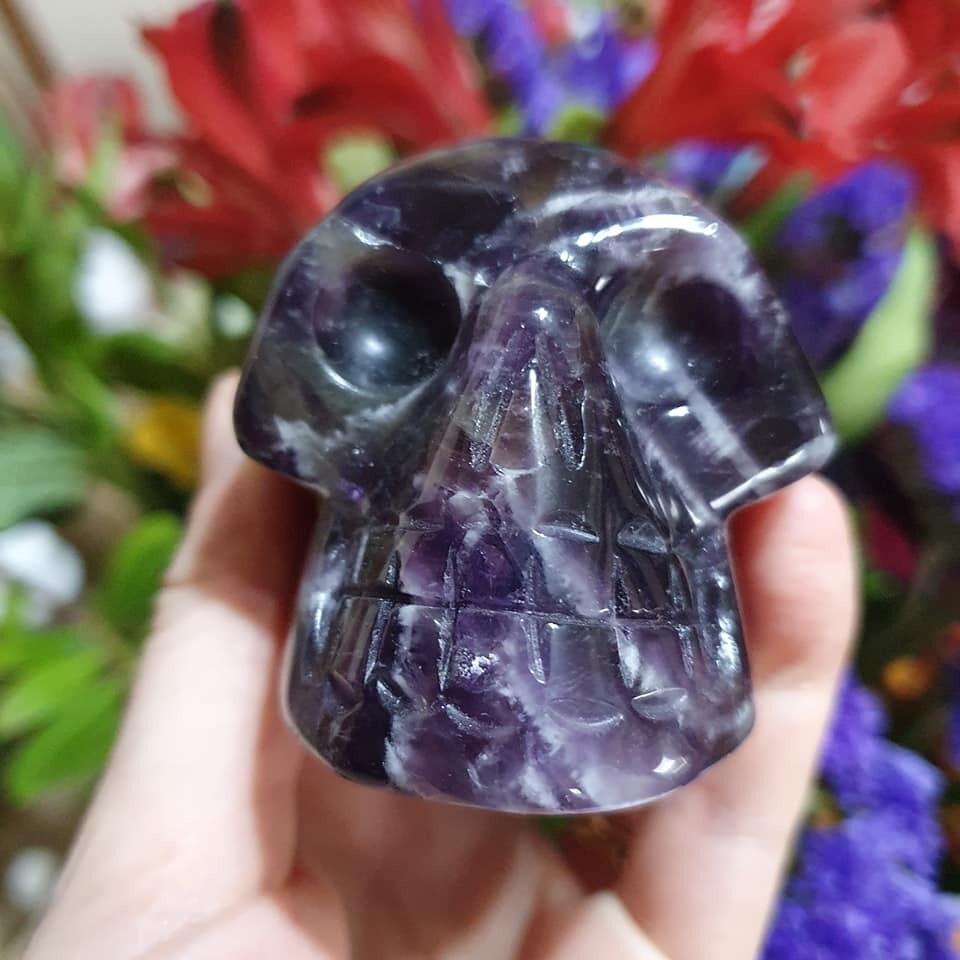 Amethyst Chevron Crystal Skull