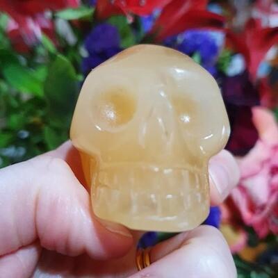 Yellow Calcite Crystal Skull