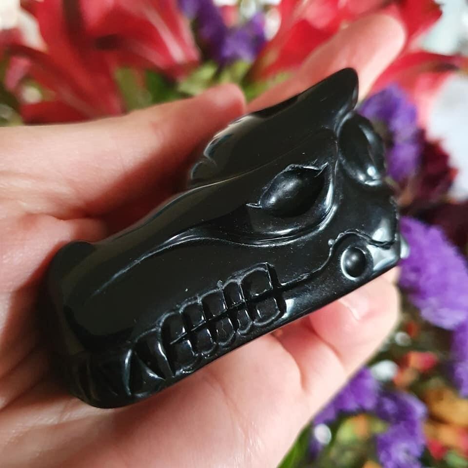 Black Obsidian Dragon Skull 2