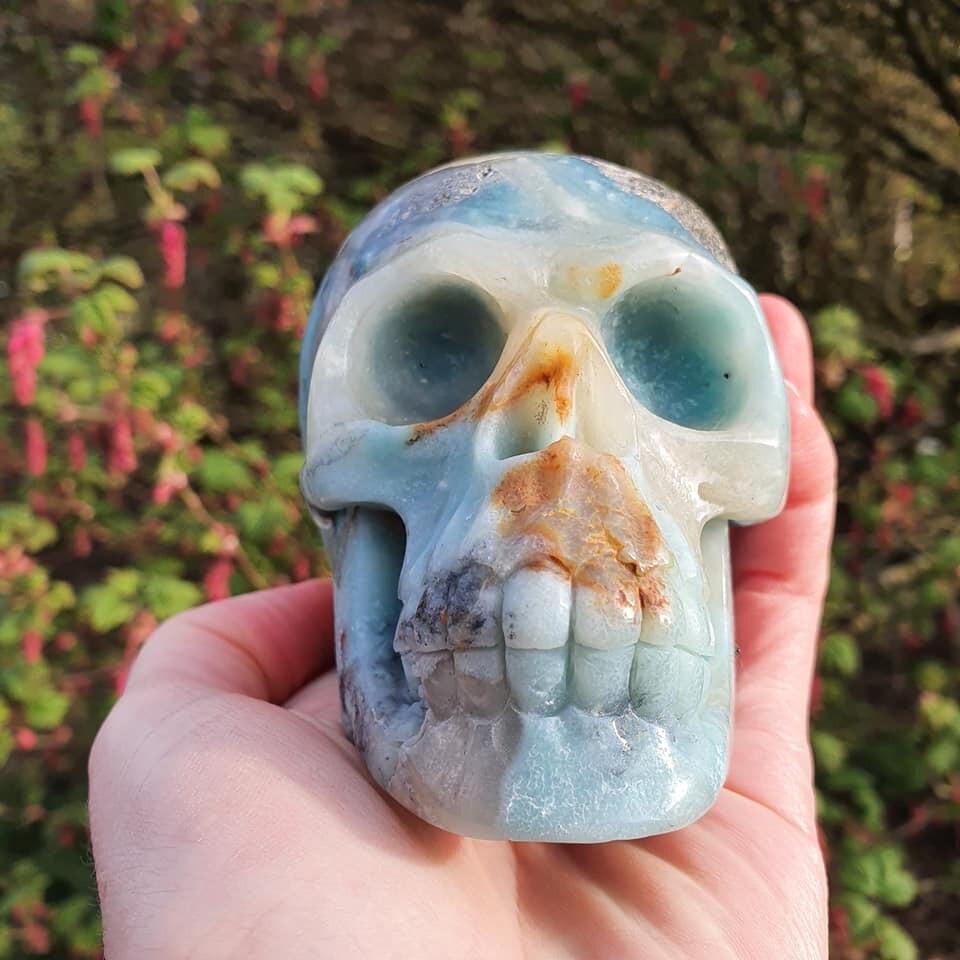 Amazonite + Iron Pyrite Crystal Skull