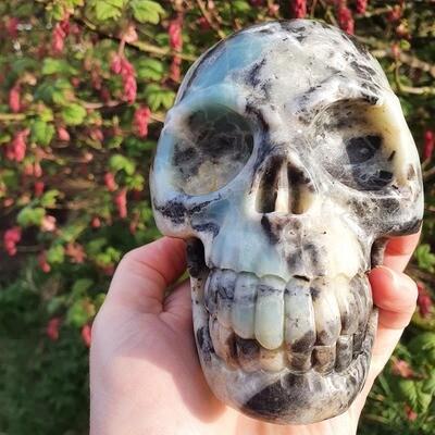 Amazonite and Black tourmaline Crystal Skull