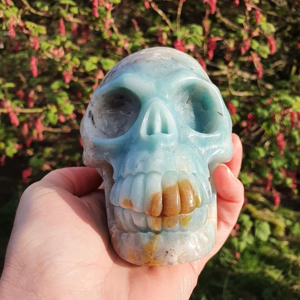 Amazonite + Quartz Crystal Skull