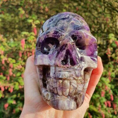 Chevron Amethyst Crystal Skull