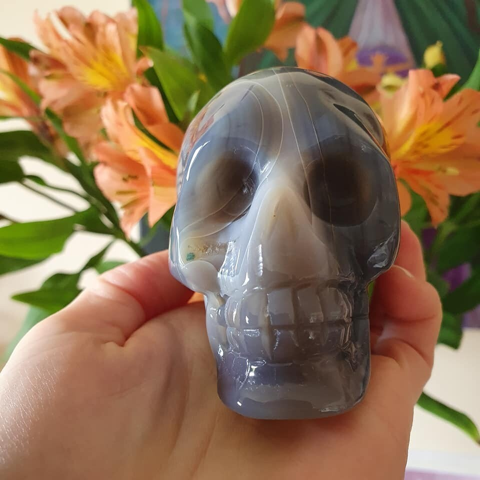Blue Agate and Quartz Crystal Skull
