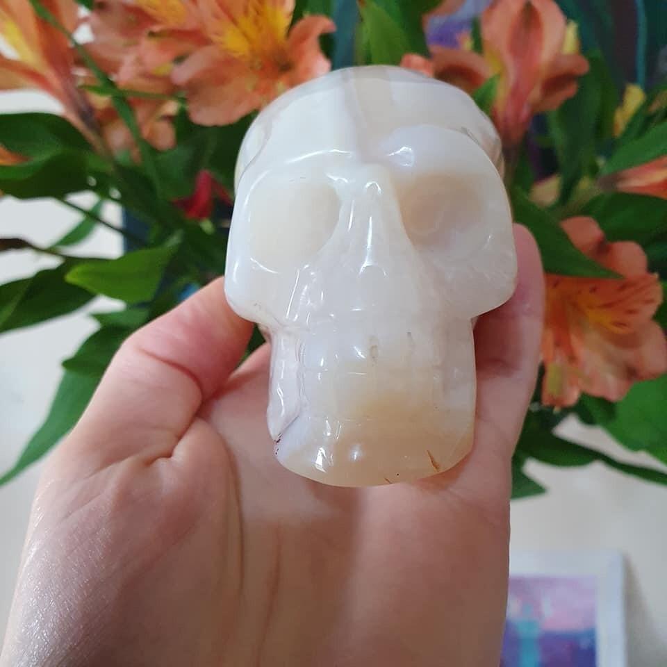 White Agate Crystal Skull