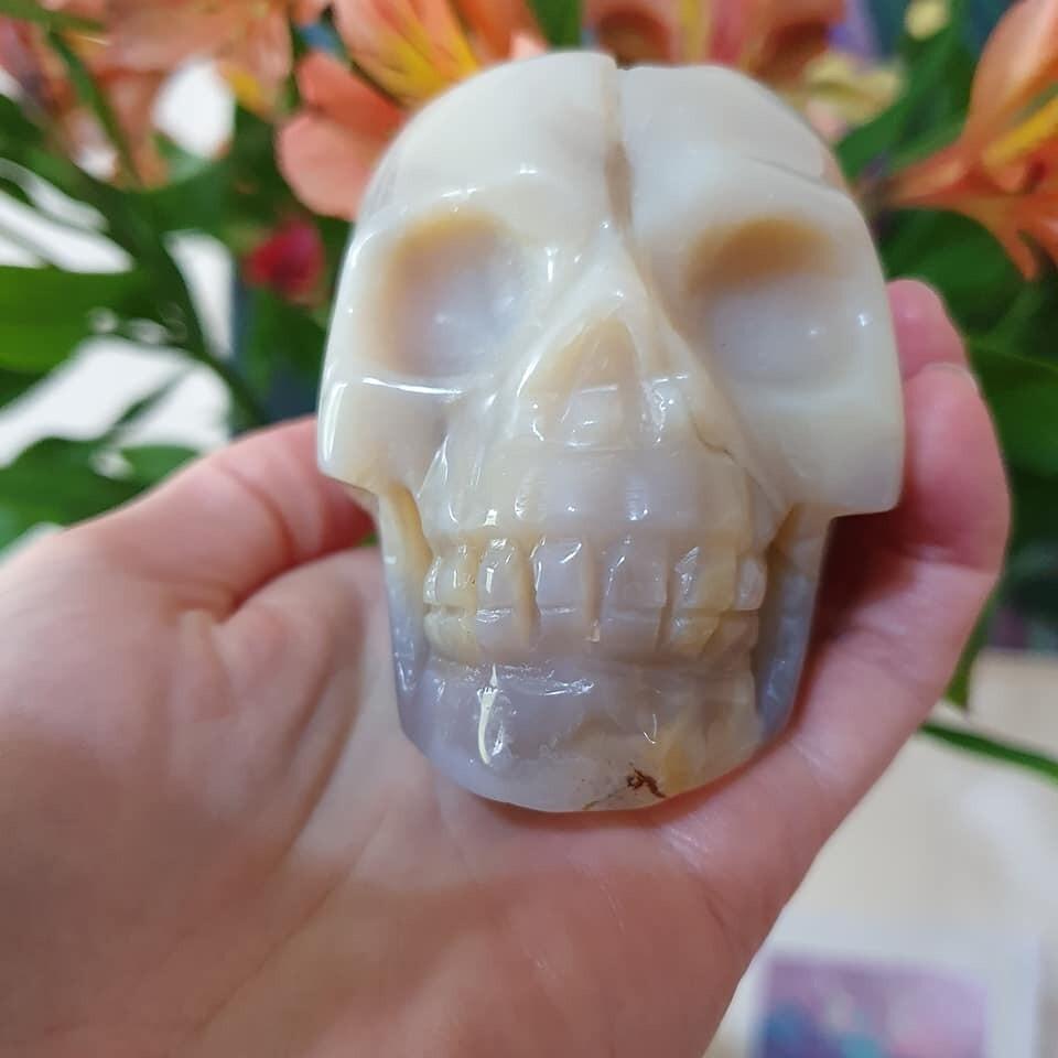 Cream/Grey Agate Crystal Skull