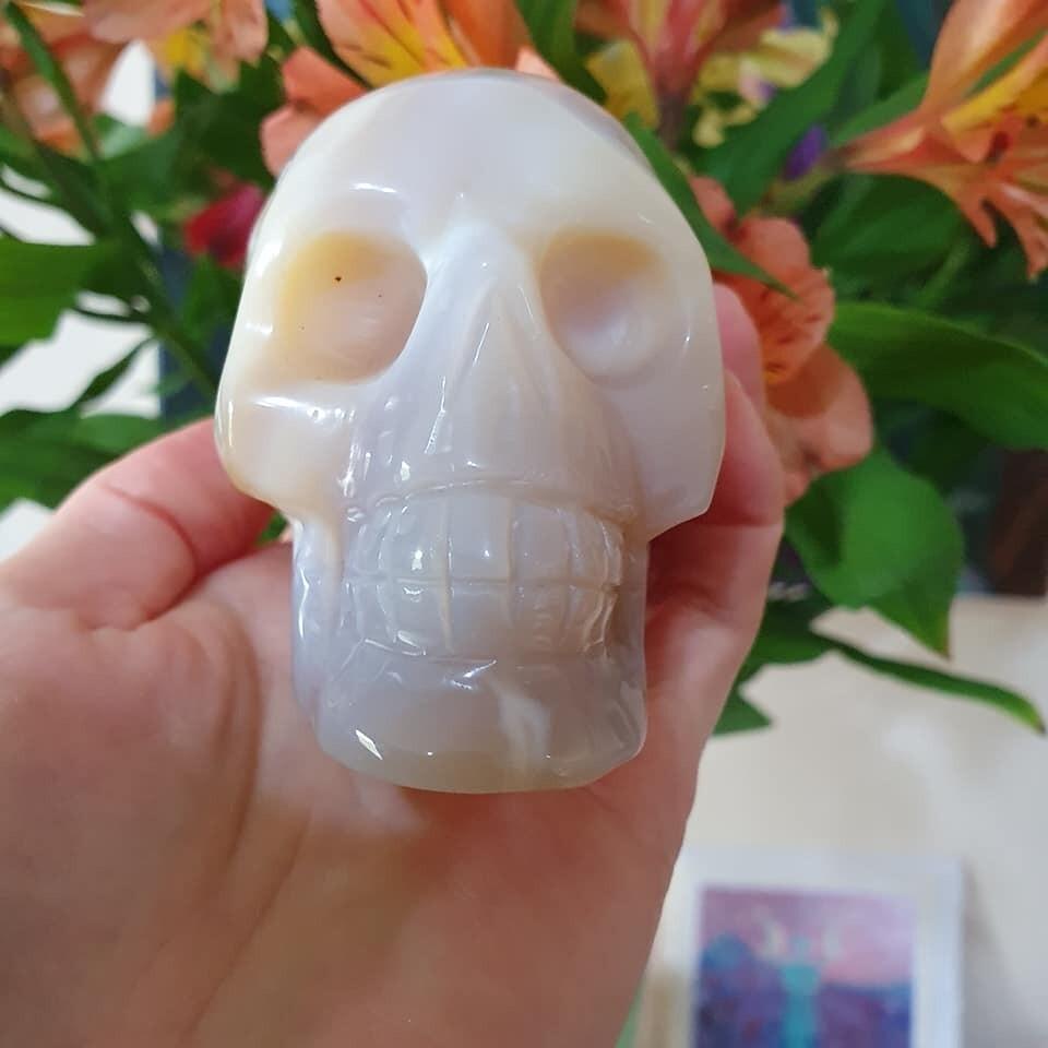Cream Agate Crystal Skull