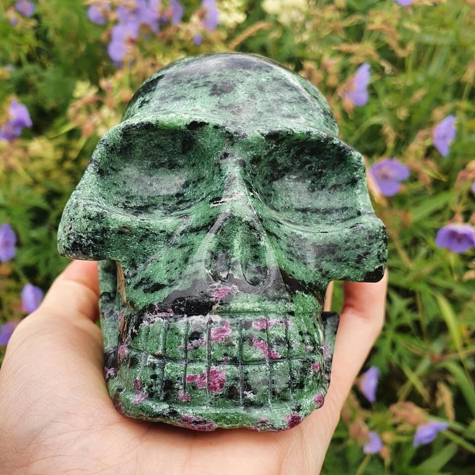 Ruby Zoisite Crystal Skull