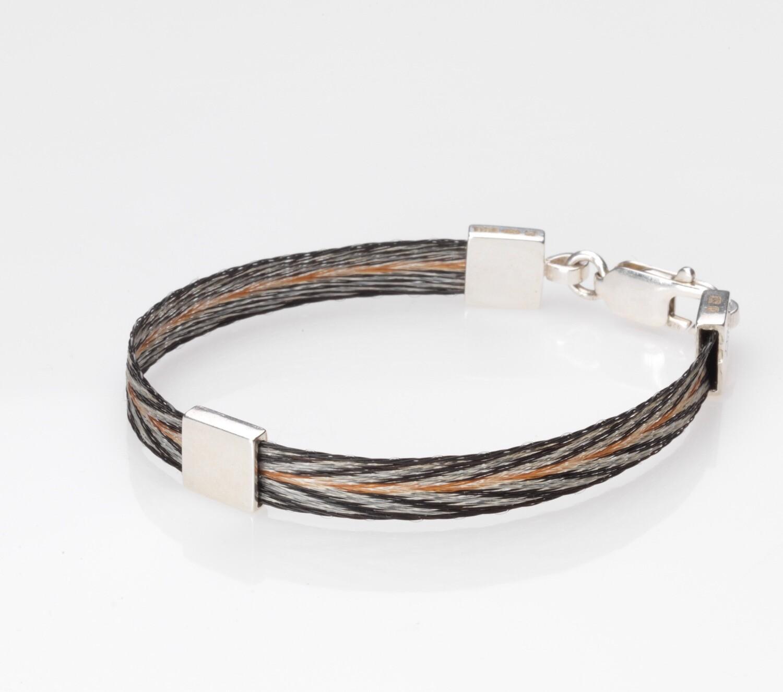 Woven horse hair ribbon bracelet - Patterned, narrow