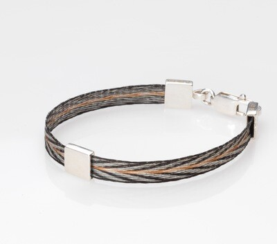 Woven horse hair ribbon bracelet - Patterned, narrow