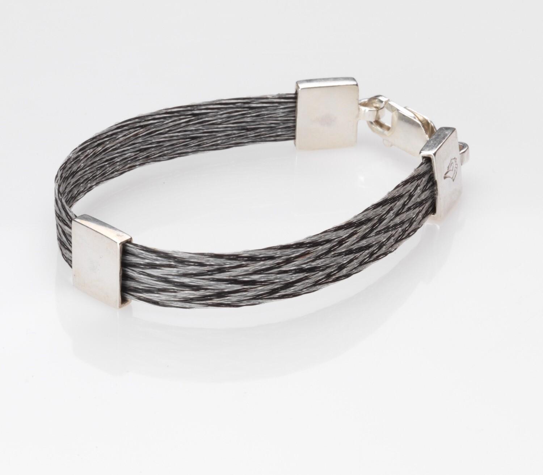 Woven horse hair ribbon bracelet - Patterned, wide