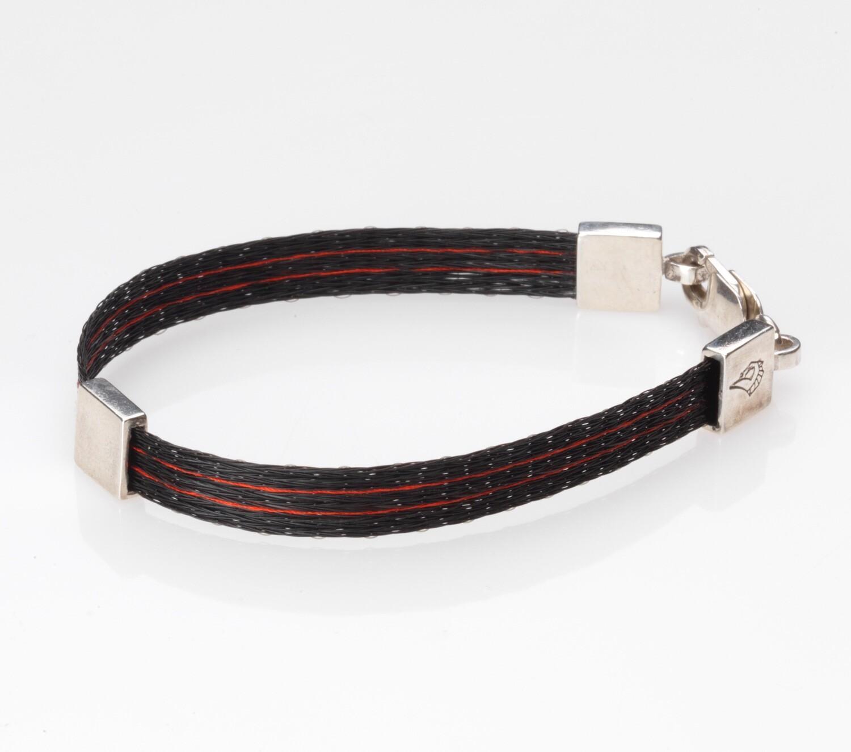 Woven horse hair ribbon bracelet - Racing Silks, narrow
