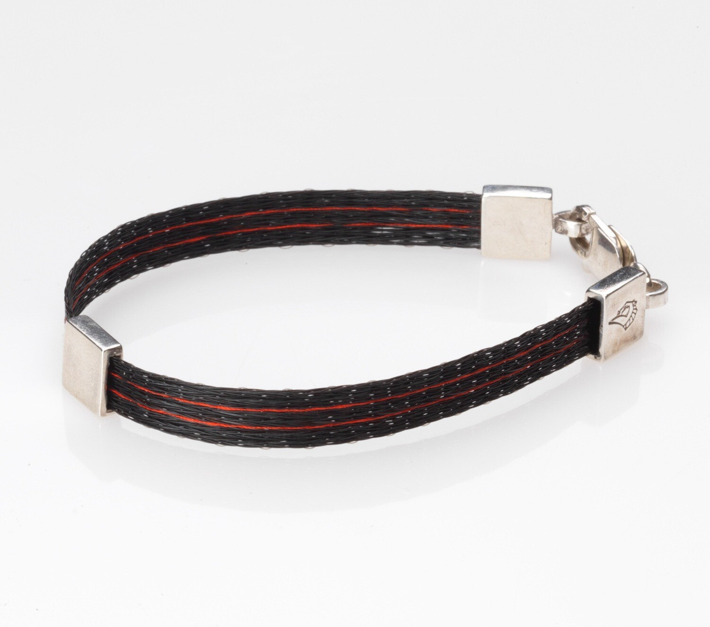 Woven horse hair ribbon bracelet - Racing Silks, wide
