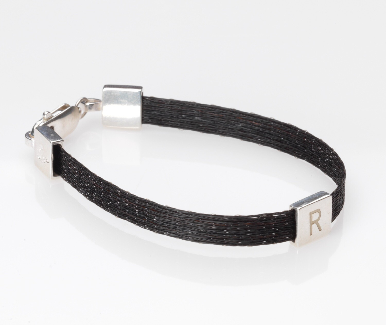 Woven horse hair ribbon bracelet - Crinoline, wide