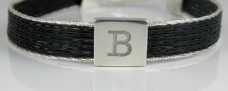 Woven horse hair ribbon bracelet - Brocade, narrow