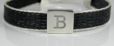 Woven horse hair ribbon bracelet - Brocade, narrow