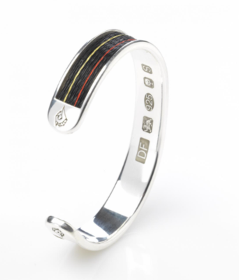 Woven inlaid horse hair torque bangle - Racing Silks