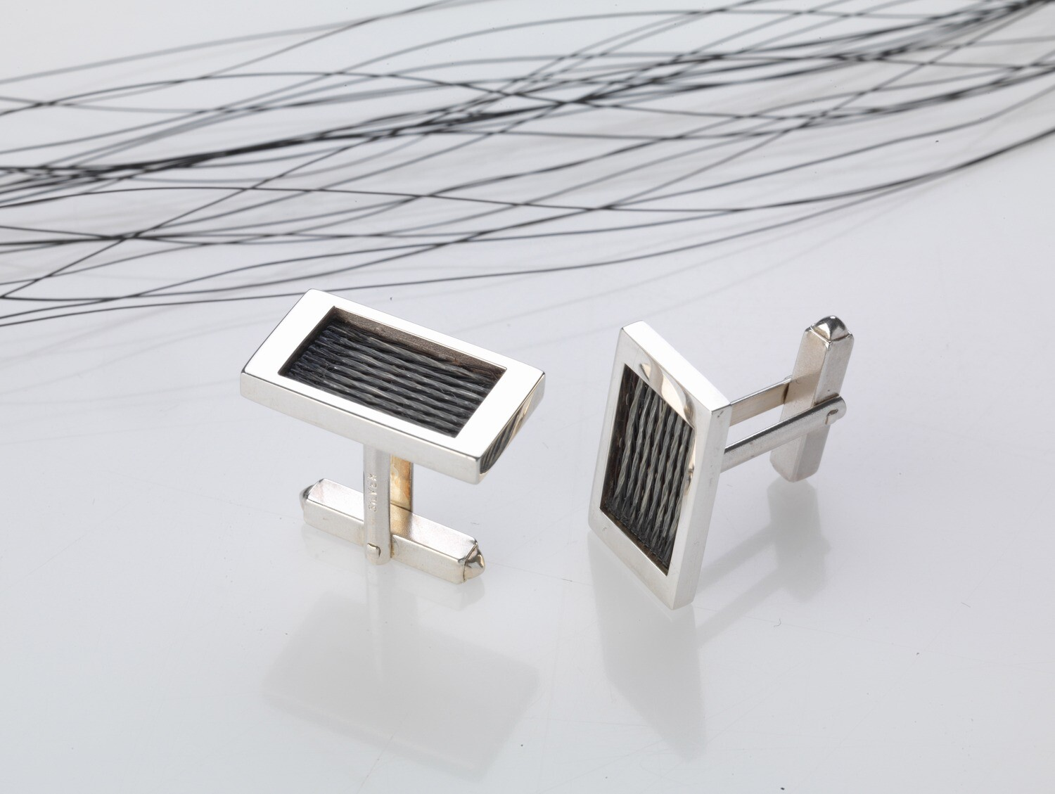 Woven inlaid horse hair cufflinks - Patterned