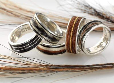 Woven inlaid horse hair ring - Patterned