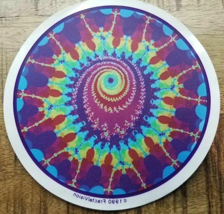 """Peacock Fractal 6"""" Window Sticker - Vintage © 1990 FractalVision"""