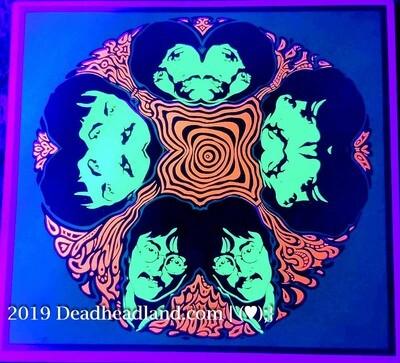 Psychedelic Beatles Mandala | ©1967 MILLER SIRKIA | Vintage Black Light Poster