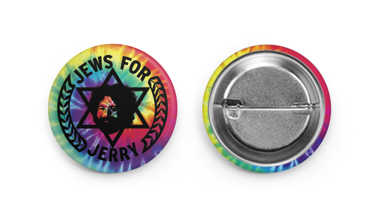 "Jews For Jerry 1 1/2"" Tie-Dye Button"